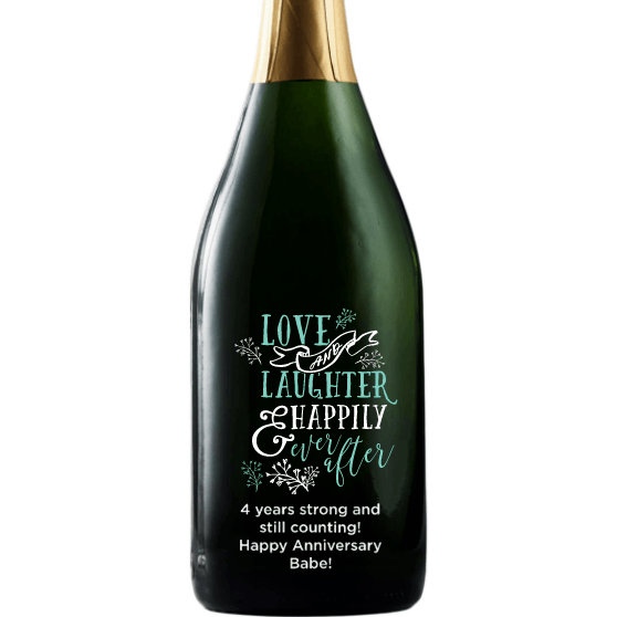 Love and Laughter & Happily Ever After custom etched champagne bottle wedding present by Etching Expressions