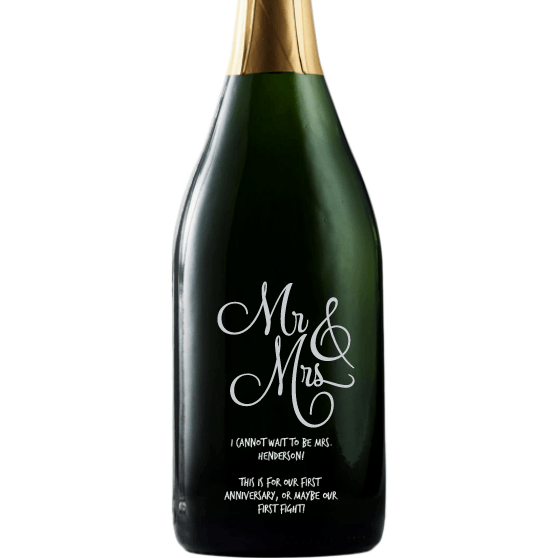 Mr & Mrs elegant font custom etched champagne bottle wedding gift by Etching Expressions