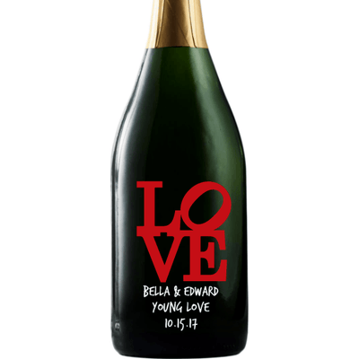Personalized Etched Champagne Bottle Gift  - Love Square