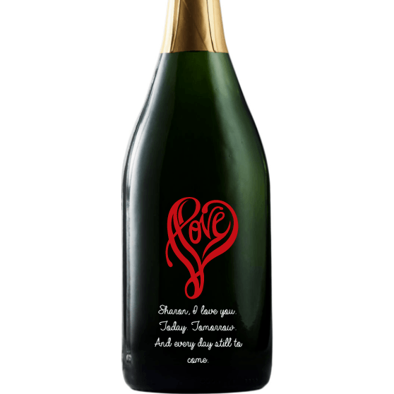 Love written in a heart shape personalized champagne bottle by Etching Expressions