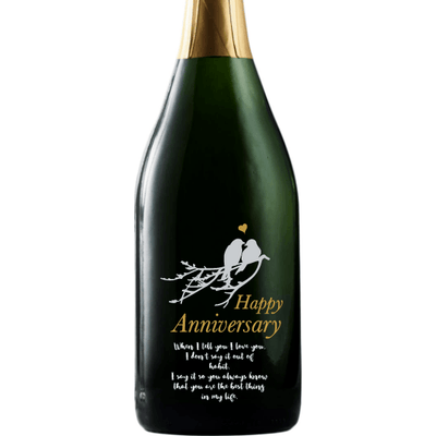 Personalized Etched Champagne Bottle Gift  - Love Birds