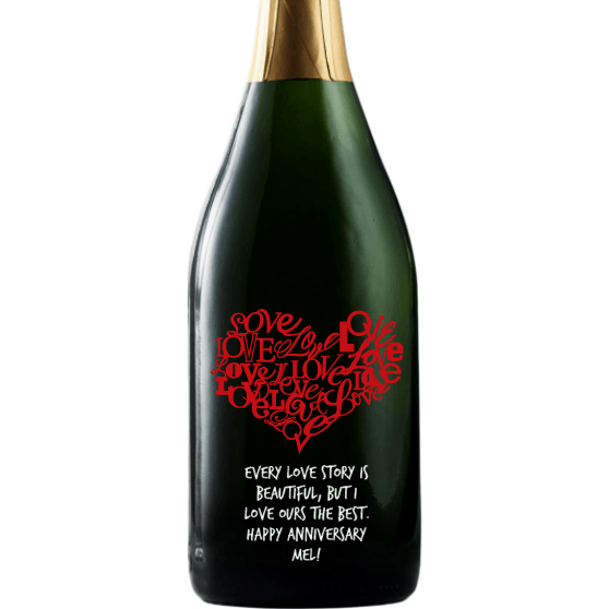 Heart of Love heart shaped design on personalized champagne bottle by Etching Expressions