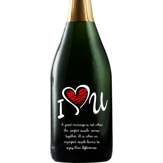 Personalized Etched Champagne Bottle Gift  - I Love U