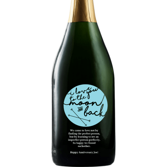 Personalized Etched Champagne Bottle Gift  - To the Moon and Back