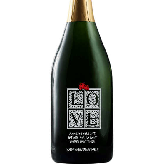 LOVE in a gift box custom etched champagne bottle by Etching Expressions