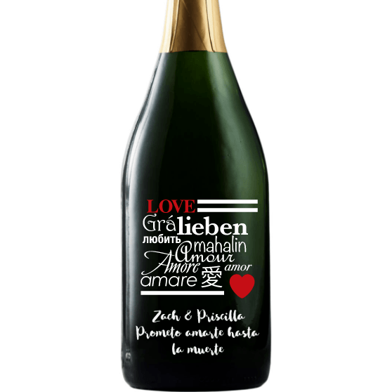 Love in many languages etched on a champagne bottle Valentine's Day gift by Etching Expressions