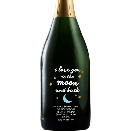 Personalized Champagne - Moon and Back Stars