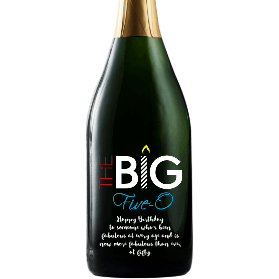 The Big Five-O custom 50th birthday gift champagne bottle by Etching Expressions