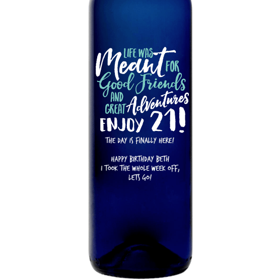 Personalized Blue Bottle - 21st Birthday