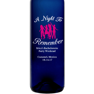 A Night to Remember girlfriends group custom etched blue wine bottle by Etching Expressions