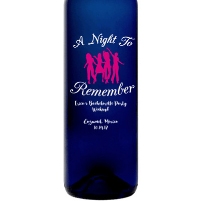 A Night to Remember girlfriends group custom blue wine bottle bachelorette party gift by Etching Expressions