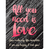 Personalized Etched Moscato Blue Bottle - All You Need is Love Label