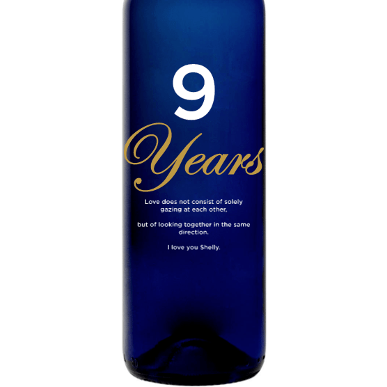 Personalized Blue Bottle - Anniversary Years