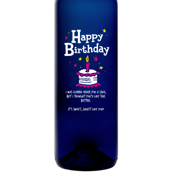 Personalized Blue Bottle - Birthday Cake