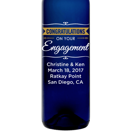 Personalized Blue Bottle - Congratulations Engagement Banner