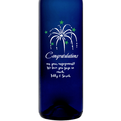 Personalized Blue Bottle - Congratulations Fireworks