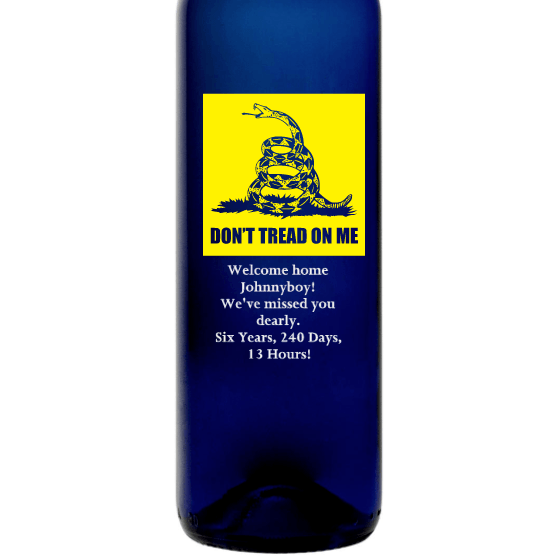 Personalized Blue Bottle - Don't Tread on Me