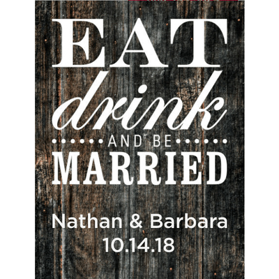 Eat Drink and Be Married blue bottle personalized label wedding gift by Etching Expressions