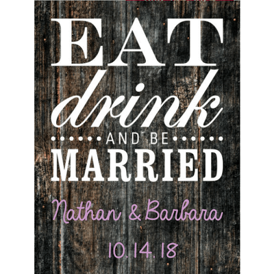 Eat Drink and Be Married blue bottle custom labeled wedding gift by Etching Expressions
