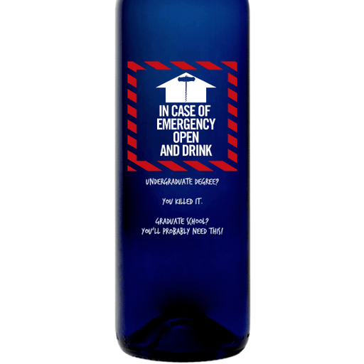 In Case of Emergency Open and Drink Personalized Blue wine Bottle by Etching Expressions