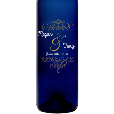 Bride and Groom name fancy etched blue wine bottle wedding gift by Etching Expressions