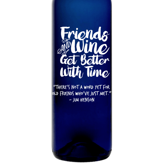 Personalized Blue Bottle - Friends & Wine