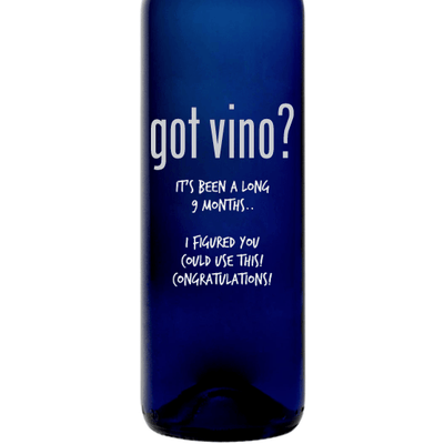 Got Vino etched blue wine bottle funny wine gift by Etching Expressions