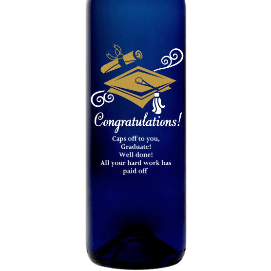 Personalized Blue Bottle - Graduation Cap