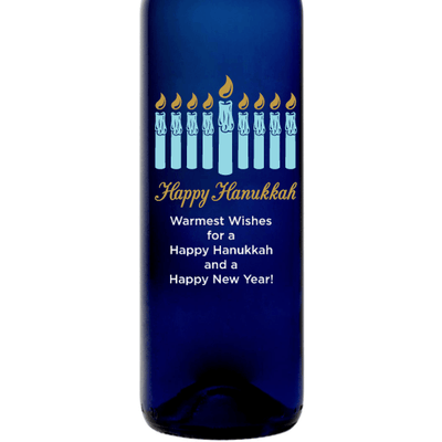 Hanukkah Menorah personalized blue wine bottle by Etching Expressions