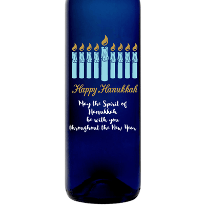 Personalized Blue Bottle - Hanukkah Candles