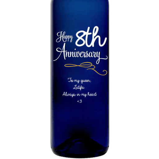 Personalized Blue Bottle - Happy Anniversary Curls