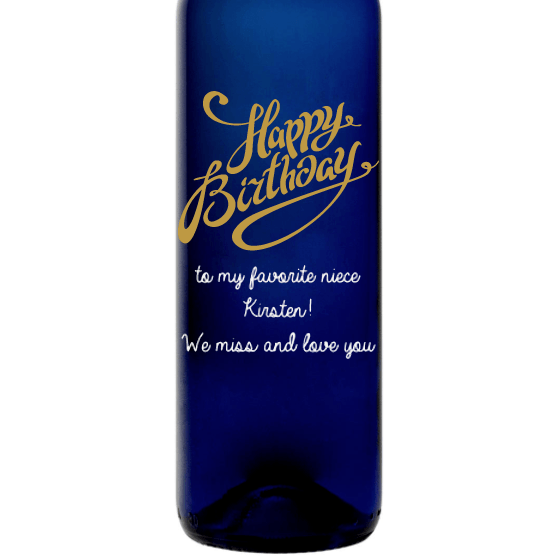 Personalized Blue Bottle - Happy Birthday Fancy Y