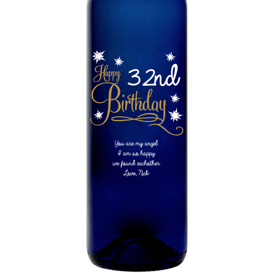 Personalized Blue Bottle - Happy Birthday Stars