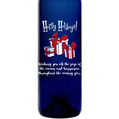 Happy Holidays with presents personalized blue wine bottle by Etching Expressions