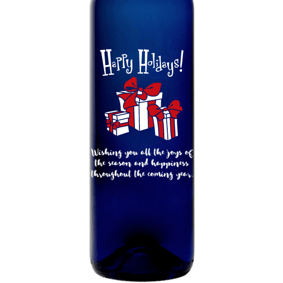 Personalized Blue Bottle - Happy Holidays Presents