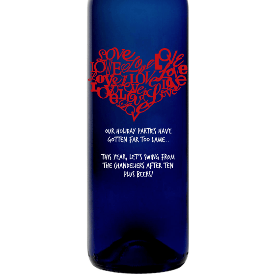 Heart of Love heart shaped etched design on blue wine bottle by Etching Expressions