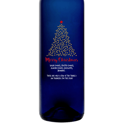 Merry Christmas starry Christmas Tree design on a custom blue wine bottle Christmas gift by Etching Expressions
