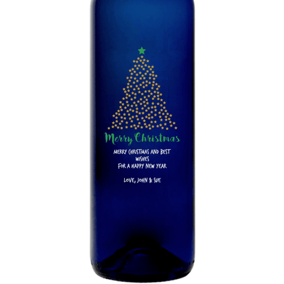 Merry Christmas starry Christmas Tree design on a custom etched blue wine bottle gift by Etching Expressions