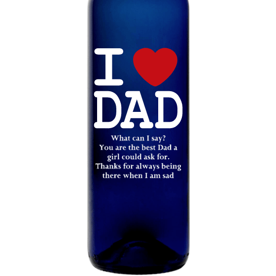Personalized Blue Bottle - I Heart Dad