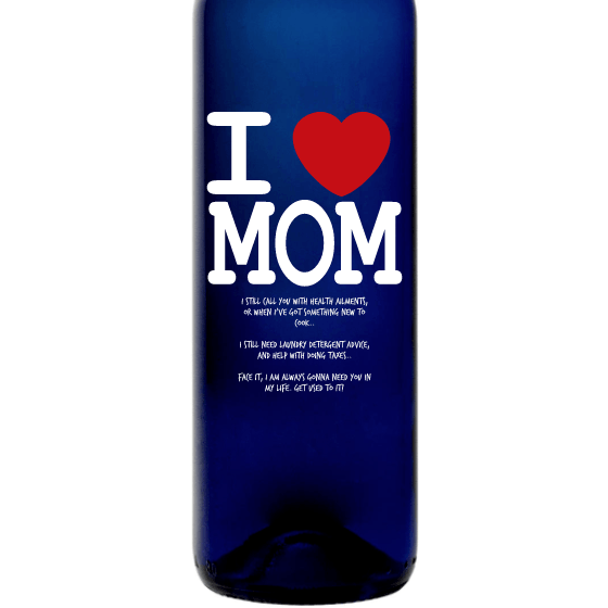 Personalized Blue Bottle - I heart Mom