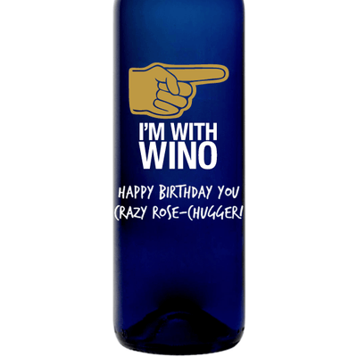 I'm With Wino custom engraved blue wine bottle funny wine gift for friend by Etching Expressions
