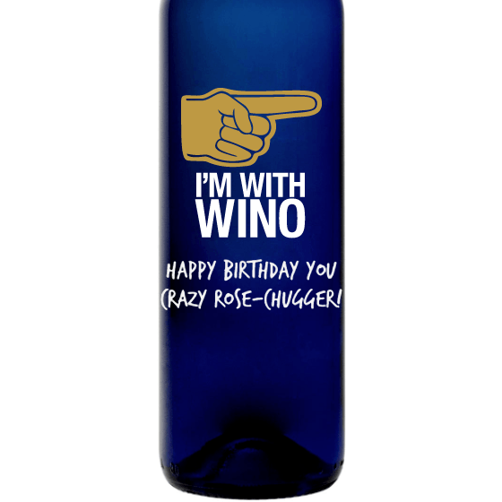 I'm With Wino personalized etched blue wine bottle funny wine gift by Etching Expressions