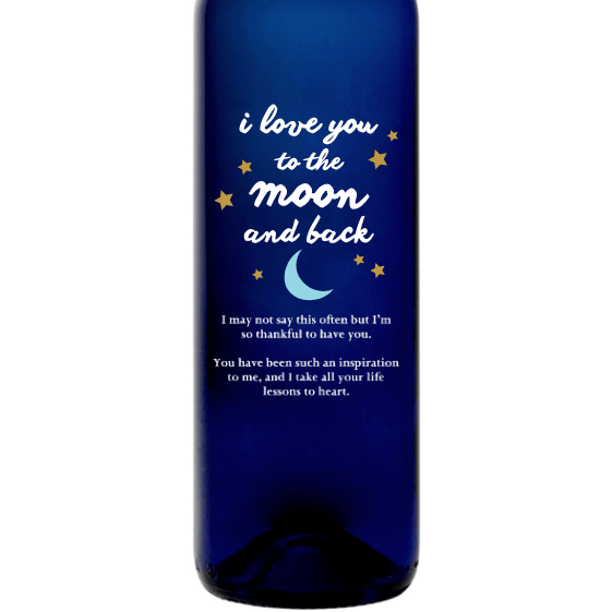Personalized Etched Moscato Blue Bottle - Moon and Back Stars