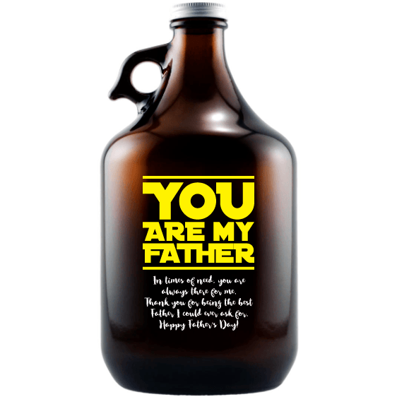 You are My Father custom engraved beer growler Father's Day gift for scifi lover by Etching Expressions