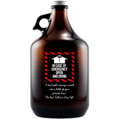 In case of emergency open and drink custom etched beer growler by Etching Expressions