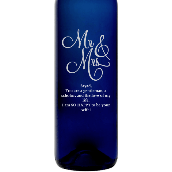 Mr & Mrs elegant font custom etched blue wine bottle wedding gift by Etching Expressions