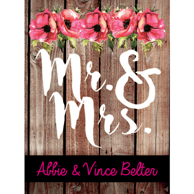 Mr & Mrs custom label for blue wine bottles wedding favor by Etching Expressions