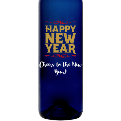 Happy New Year custom engraved blue wine bottle by Etching Expressions