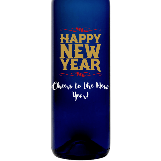 Happy New Year etched blue wine bottle by Etching Expressions