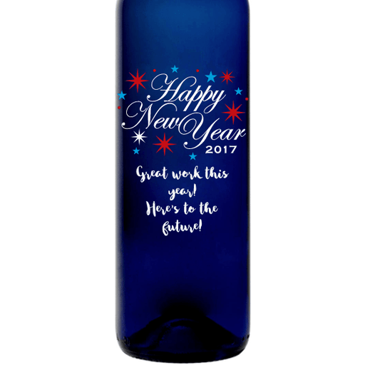 Happy New Year fireworks etched blue bottle gift by Etching Expressions